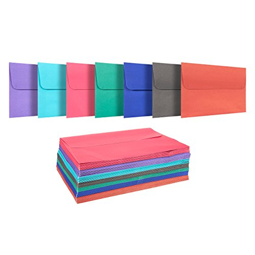 100 Pack Assorted Colors A7 Envelopes - Includes Blue, Pink, Purple, Green - for 5 x 7 Greeting Cards and Invitation Announcements - Self Seal Square Flap Envelopes - 5.25 - Envelope Square Mailing