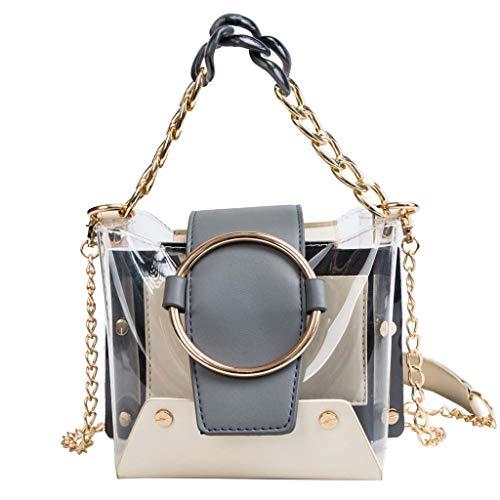 Clear Crossbody Handbags, SIN+MON Women's Fashion Waterproof Chain Handbag Top-Handle Bags Shoulder Bag Transparent Purse