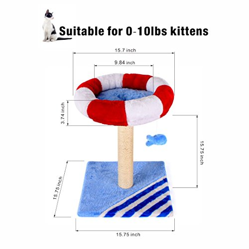 CUPETS Cat Activity Tree House Condo with Scratching Post & Cat Toy Fish - Multiple Colors by CUPETS (Image #4)