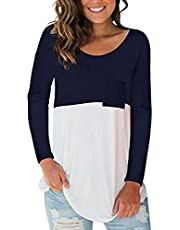 kenoce Women's Round Neck Blouse Long Sleeve Tunic Tops Off Shoulder Solid Casual Loose T Shirt