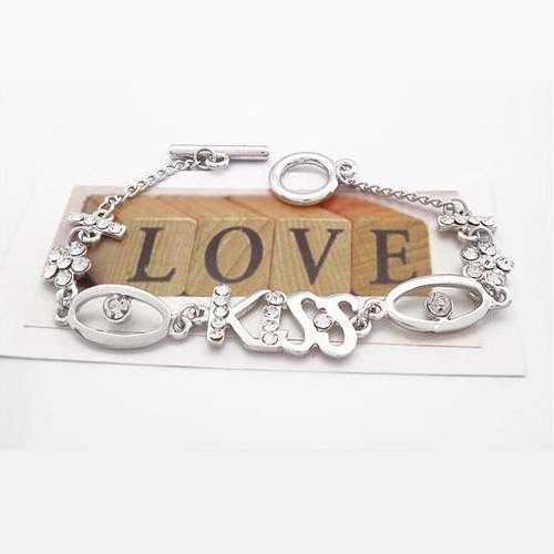 Handmade Rhinestone Bracelet with Letter KISS for Woman-Silvery
