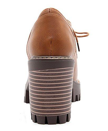 Korkokenkiä kengät Keltainen Allhqfashion Toe Pu 38 Vankka Suljetun Pumput Kierroksen Nauhakenkä Naisten WnnBOqFwR