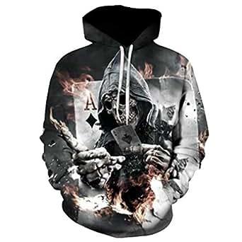 3d Print Skull Hoodies&Sweatshirt Casual&Loose Pullover Hooded Sweatshirt L