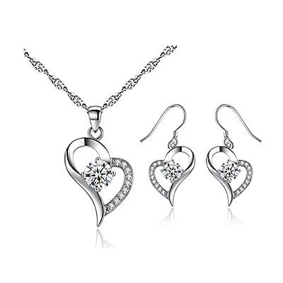 Spiritlele 4 PCS Crystal Jewelry Set Golden Chain Necklace Bracelet Ring Teardrop Earrings Set For Women