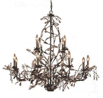 (Elk Lighting 8055/8+4 12 Light Chandelier, Deep Rust/Crystal)