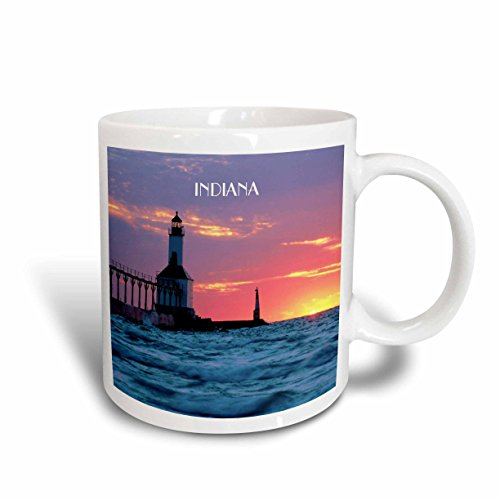 3dRose mug_62523_1 Lighthouse At Michigan City Indiana Ceramic Mug, - Indiana Outlet Lighthouse