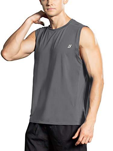 Roadbox Men's Performance Sleeveless Shirts Quick Dry Workout Athletic T Shirts Running, Basketball and Gym Tank Tops Dark Gray ()
