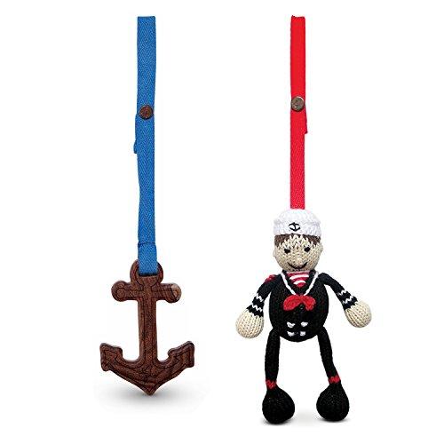 Finn + Emma | Stroller Toys | Baby Boy | Graysen & Anchor | 100% Organic & Eco-Friendly | Hand Knit & Fair Trade | Made in Peru & India