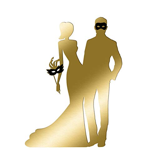 TCDesignerProducts Gold Masquerade Couple Cardboard Standup Kit - 6 feet high x 56 inches Wide