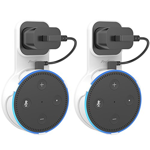 ProCase Amazon Echo Dot Wall Mount Outlet Hanger Clip for Dot 2nd Generation, No Messy Wires or Screws, Amazon Echo Dot 2nd Gen Wall Mount for Bathroom Bedroom Kitchens –White, 2 Pack by ProCase