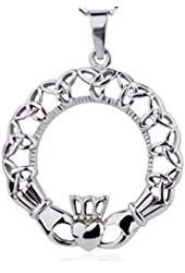Irish Oval Celtic Triquetra Claddagh Pendant Necklace. Heart and crown symbols. Stainless Steel Lovers jewelry design Irish gifts