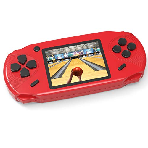 TEBIYOU Handheld Game Console, Built in 16 Bit100 HD Classic Video Games 3.0'' Large Screen Seniors Electronic Handheld Games Player Birthday Gift for Children Adults (Red)