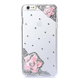 bricolaje flores románticas rosa con estampado de diamantes de imitación de plástico duro para el iPhone 6 más