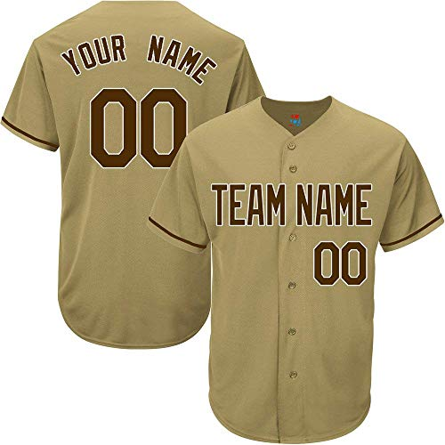 Gold Custom Baseball Jersey for Men Women Youth Game Embroidered Team Player Name & Numbers S-5XL Brown White ()