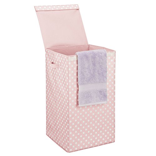 - mDesign Large Laundry Hamper Basket with Hinged Lid and Attached Handles - Portable and Foldable for Compact Storage - Single Hamper Design, Fun Polka Dot Pattern - Pink with White Dots