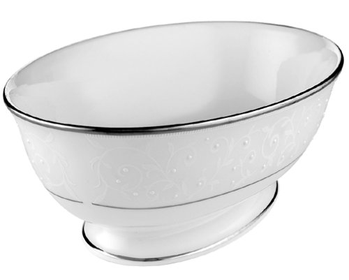 Lenox Opal Innocence Platinum-Banded Bone China Open Vegetable Bowl