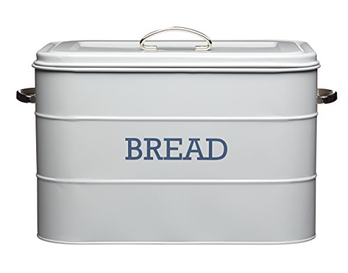 Designer Bread Bin - Kitchencraft Living Nostalgia Large Metal Bread Box Bin, French Grey