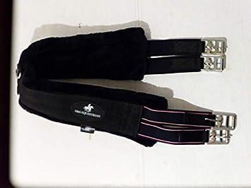A& S Equestrian Faux New Zealand Sheepskin Fur Girth with Detachable Fur (44, Black with BlackFur)