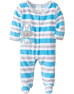 ABSORBA Baby-Boys Newborn B Baby Elephant Velour Footie