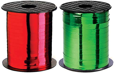 Curly Ribbon Christmas Ribbons Curling Ribbon Holiday Thin Metallic Red & Green Set Crimped Iridescent for Gift Wrap, Holiday Party Decoration, Gift Wrapping Presents Holidays