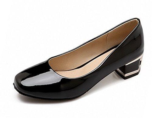Damen Rein Blend-Materialien Niedriger Rund Zehe Ziehen auf Pumps Schuhe, Schwarz, 36 VogueZone009