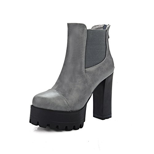 Gray Band amp;N A Leather Boots Heels Platform Elastic Imitated Chunky Womens wSnpFvxqU
