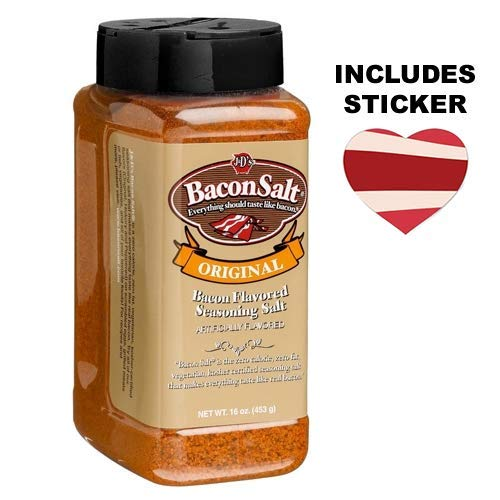 J&D's Big Pig Original Bacon Salt (Jumbo 16 Ounce Bottle + Sticker) - Low Sodium Bacon Flavored Seasoning Salt + Bacon Heart Sticker -