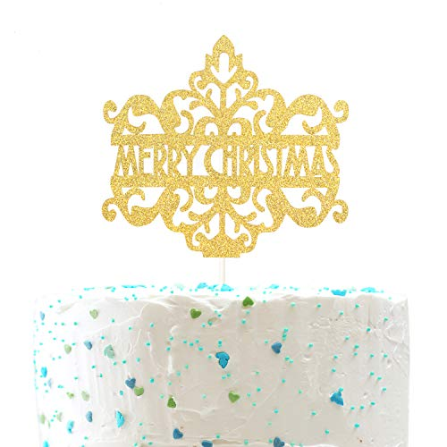 Merry Christmas Cake Topper for Happy New Year Holiday Winter Party Decor (Double Sides Gold Glitter)