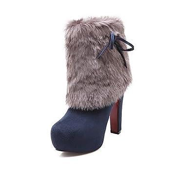 KUKIE Best 4U® Mujer Zapatos Cuero Nobuck Invierno Botas de Moda Botas Tacón Robusto Dedo Redondo Botines hasta el Tobillo para Casual Vestido Negro: ...