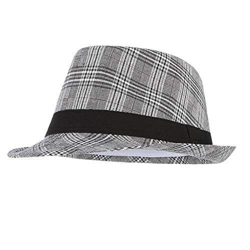 Summer Men Plaid Fedoras Derby Bowler Hat Men Jazz Gangster Caps Panama Church Hats,Black,58cm