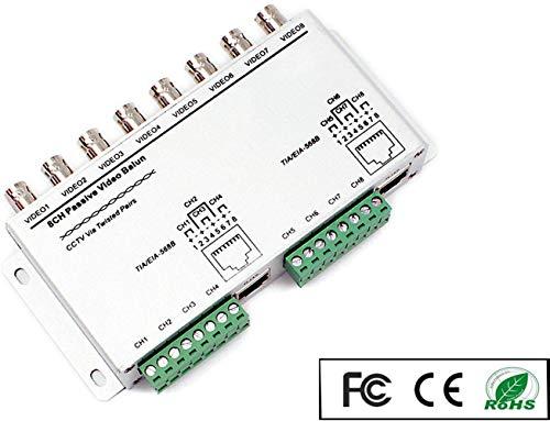 OdiySurveil(TM) 8-CH Passive BNC to RJ45 Cat5e UTP Video Balun Transceiver,Video Transmitter for 720P/1080P HD-CVI/TVI/AHD CCTV Camera(Aluminium Alloy Shell)