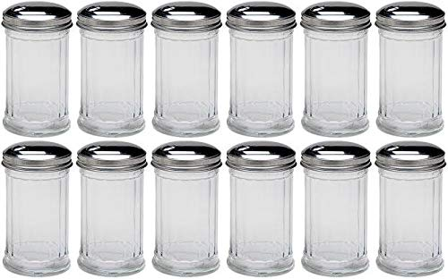 Update International Retro Style Sugar Dispenser/Pourer/Shaker, Glass Jar, Stainless Steel Pour-Flap Lid, 12 oz, Set of 12 by Update International