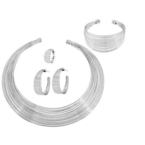 defcb0348af4 CAOLATOR 5pcs Conjuntos Collar Pendientes Pulsera Costumbre la Raya Metal  Estrellas Pendientes Para Mujer Accesorios de