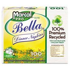 MarcalPro 2121 White 100% Premium Recycled Bella Dinner Napk