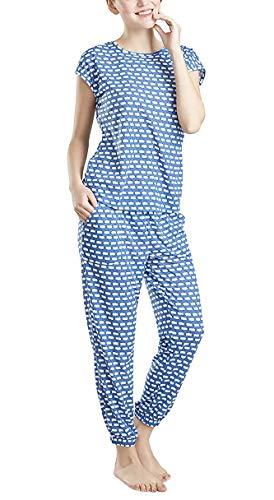 Lounge Women Pajamas Set - Pajamas for Women, Short Sleeve and Jogger Pants Sleepwear Set, Counting Sheep Print XX-Large]()