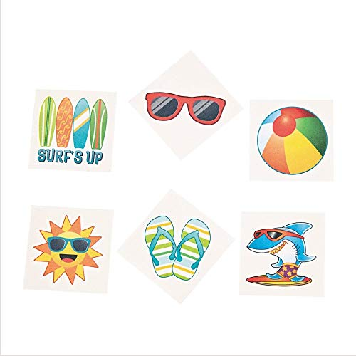 Fun Express Summer Beach Luau Themed Temporary Tattoos Party Favors - 72 Piece Count