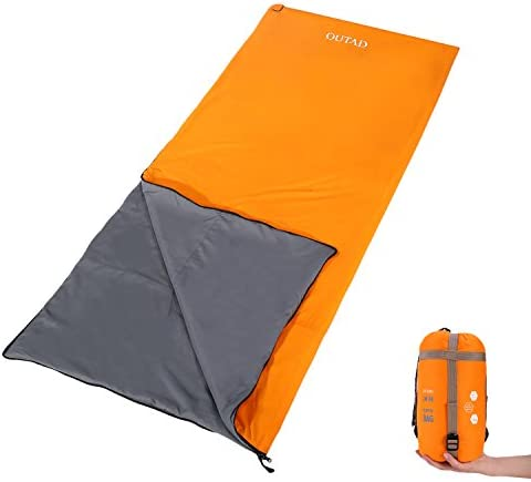 OUTAD Envelope Outdoor Sleeping Bag, Ultra-Light Portable Waterproof Spring, Summer Fall Camping Hiking Sleeping Bag with Compression Bag