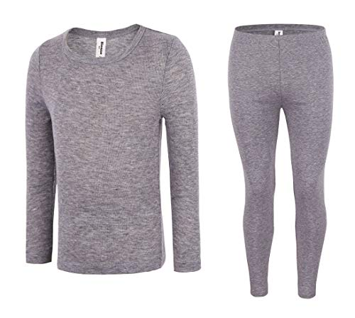 (Bienzoe Boy's High Tech Fiber Thermals Long Johns Tops & Pants Set 12/14 Grey)