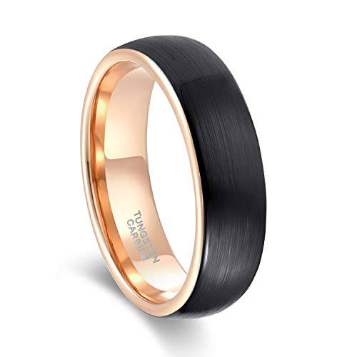 6mm Tungsten Carbide Wedding Band Ring for Men Women Domed Round Brushed Comfort Fit Size 9