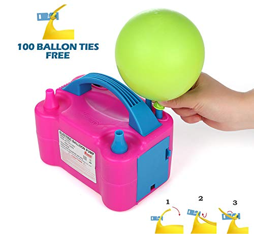 Party Zealot Electric Balloon Inflator Air Pump Dual Balloons Blowers US Standard Plug for Balloon Garland, Balloon Arch, Balloon Column Stand, and Balloon -