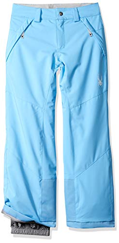 (Spyder Girls' Olympia Ski Pant Regular Fit, Blue Ice/Blue Ice, Size 12)