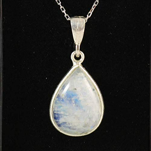 (Natural Moonstone Teardrop Silver Birthstone Pendant Necklace 16+2'' Adjustable Chain)