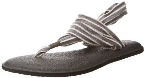 Sanuk Women's Yoga Sling 2 Prints Flip Flop,Charcoal/Natural Stripes,10 M -