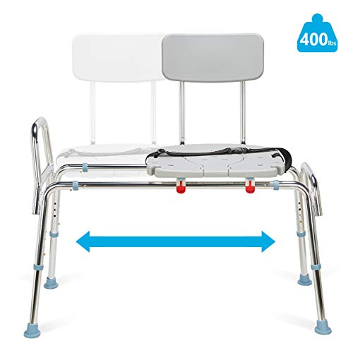 OasisSpace Heavy Duty Sliding Bathtub Transfer Bench 400 lbs, Shower Chair with Cut Out Seat Tub Transfer Bench and Sliding Shower Seat for Elderly, Handicap, Disabled
