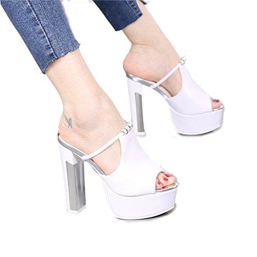 c0bf18a9 Venta caliente 2018 Hyun Times Sandalias Blancas Gruesas con Tacones Altos  Usan Zapatos de Mujer