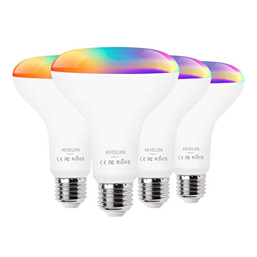 [2020 Upgrade] Smart Light Bulb,Color Changing Light Bulb Compatible with Alexa and GoogleAssistant(No Hub Required),2.4G WiFi E26 13W(100w Equivalent) BR30 Smart Bulb,4 Pack