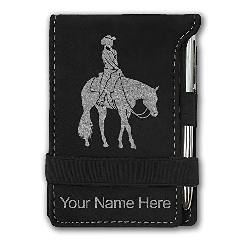 Engraving Western (Mini Notepad, Western Pleasure Horse, Personalized Engraving Included (Black with Silver))