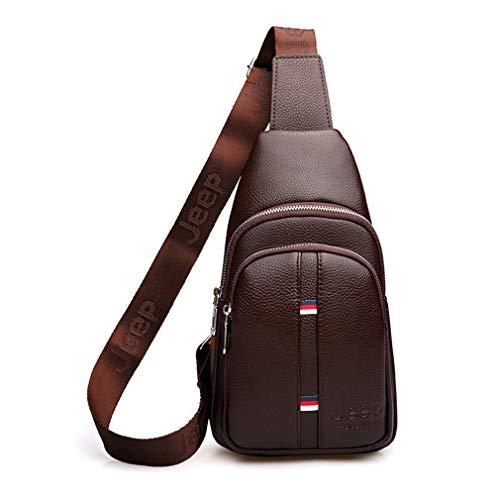 Large Capacity Man's Chest Bag Casual Crossbody Bags Men Leather Sling Bag For Short Trip Brown (Tamrac Brown Strap)