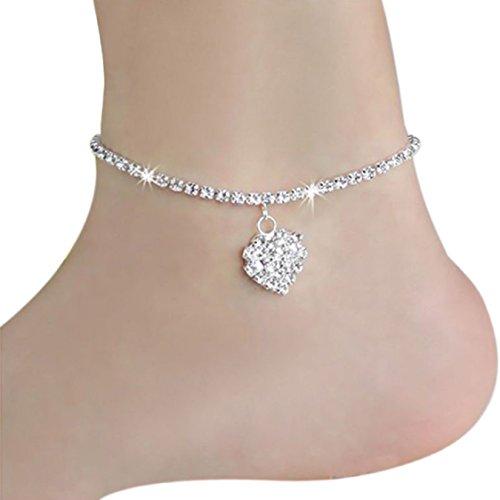 Diamond Sandal Pendant - Ikevan Fashion Women Ankle Chain Anklets Diamond Pendant Bracelet Barefoot Sandal Beach Foot Jewelry Gift Silver