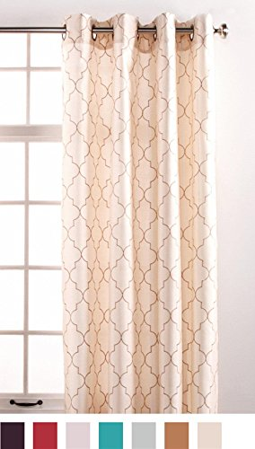 Stylemaster Hudson 55 by 84-Inch Embroidered Faux Silk Brass Grommet Panel, Vanilla
